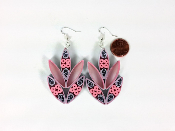 intricate earrings, extra large earrings, floral earrings, abstract flower