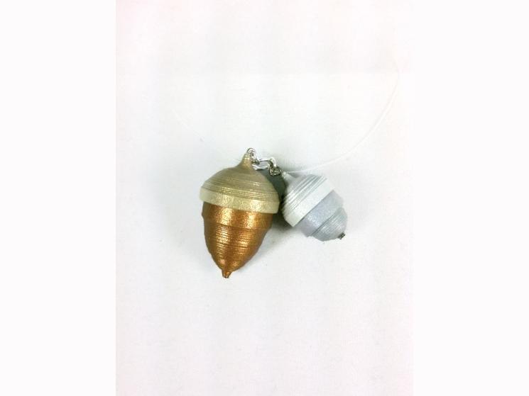 acorn necklace, acorn pendant, paper quilling, paper quill jewelry, quill acorns