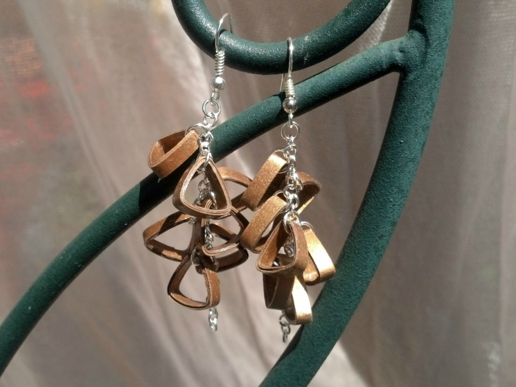 gold triangle cluster earrings, handmade earrings, paper quilled earrings, paper