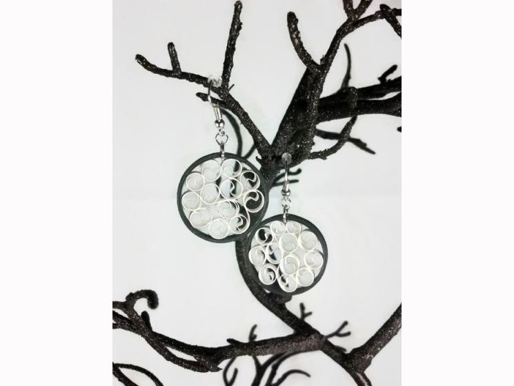 white and black earrings, black filigree, whimsical earrings, earrings for women