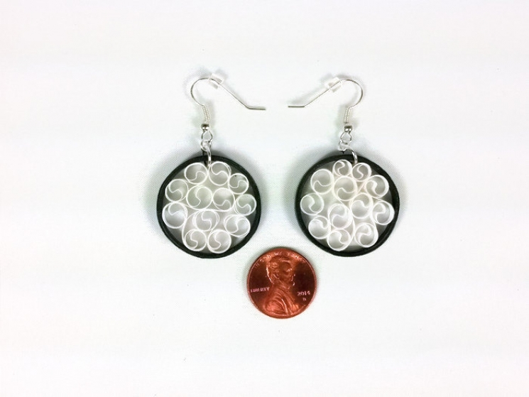 small earrings, round black earrings, paper anniversary gift, white filigree