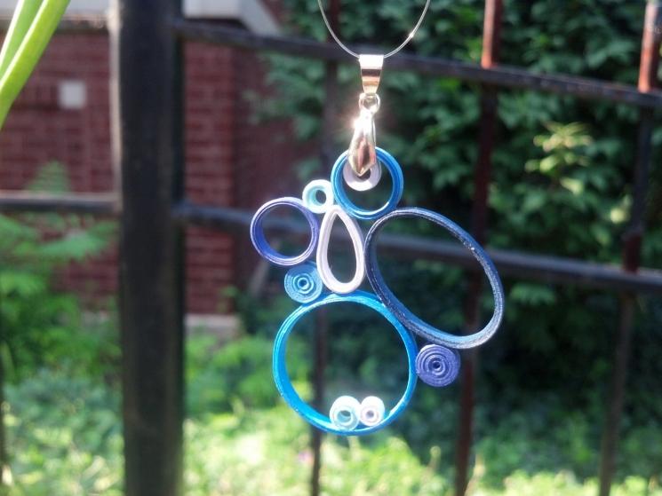 modern pendant, geometric pendant, abstract pendant, blue pendant, pink pendant