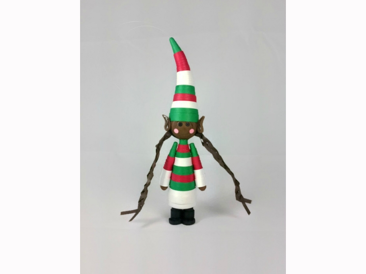 brown elf ornament, black elf, Christmas ornament, African American, quilled elf