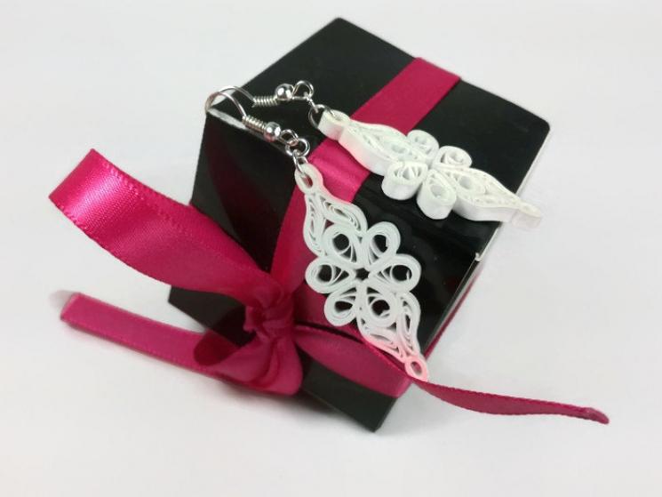 paper earrings, boho bride jewelry, white earrings, unique bride, eco bride