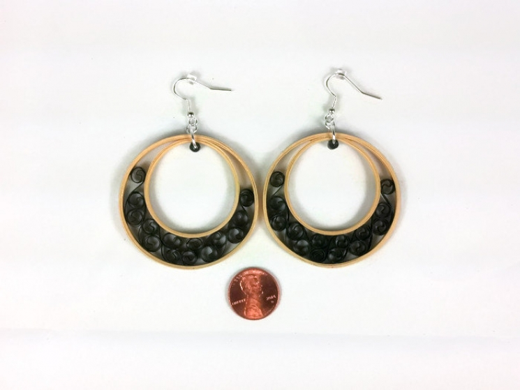 eco chic, boho chic, gold paper, unique hoops, handmade bridal jewelry, handmade