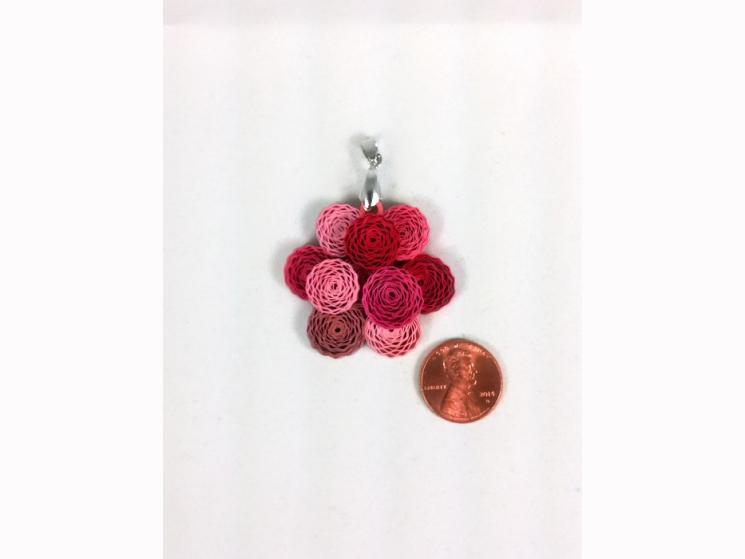 handmade jewelry, dahlia pendant, pink dahlia, red dahlia, dahlia flower jewelry