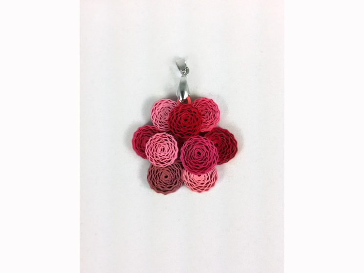 peony flower pendant, paper quilling peony, paper quilling pendant, color choice