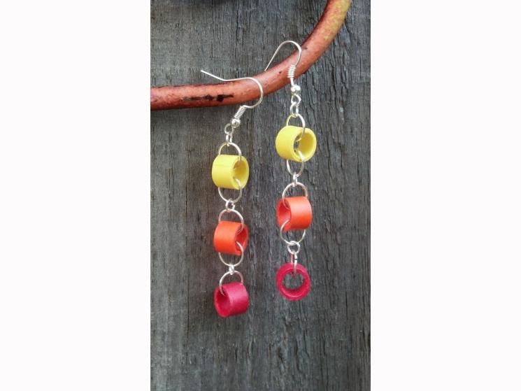 earth friendly earrings, handmade earrings, red, yellow, orange, gift for her