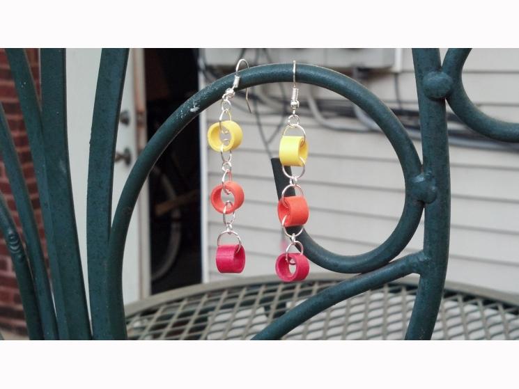 long dangle earrings, extra long earrings, ecofriendly earrings, boho chic