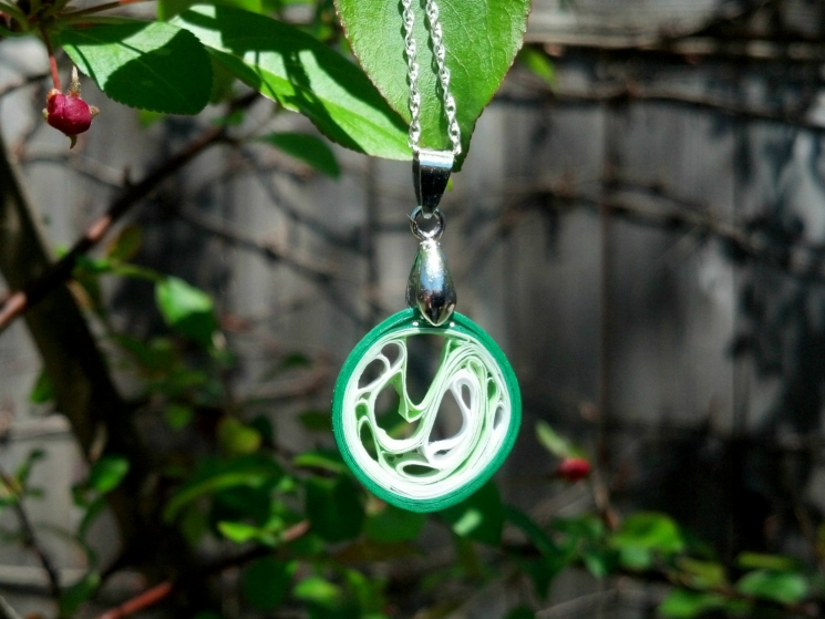 green jewelry, orange pendant, green pendant, abstract necklace, paper necklace