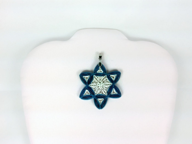 paper quilling pendant, paper jewelry, ornate star of David, blue and white star
