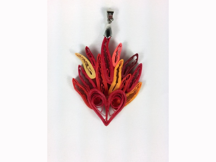 paper quilled heart on fire pendant, quilling hearts pendant, heart on fire