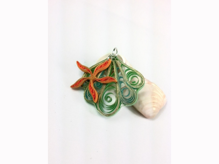 beach jewelry, seashell necklace, seashell jewelry, quilled shell
