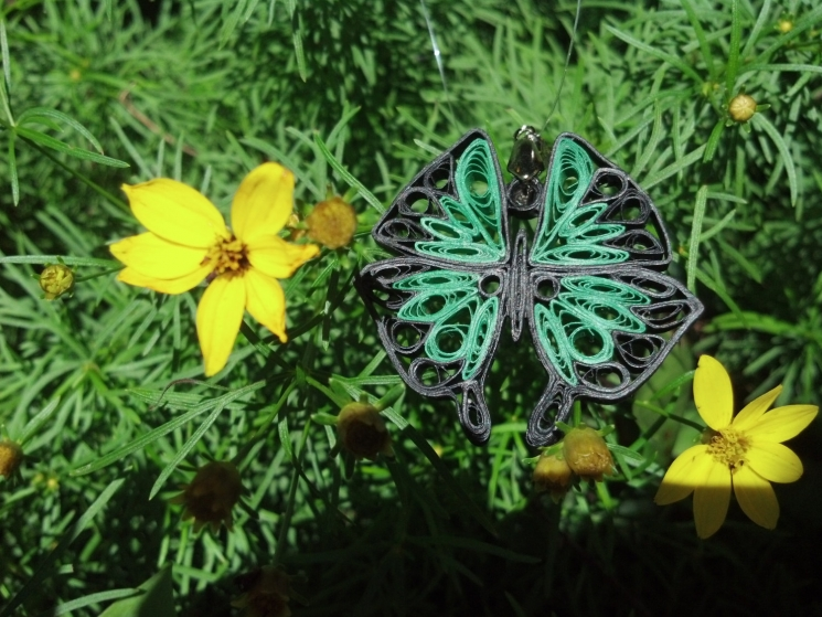 paper quilled butterfly, paper jewelry, butterfly necklace, green butterfly