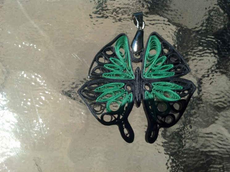paper butterfly, emerald green, green and black, black and green, for women