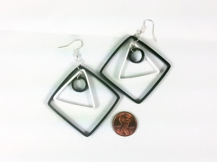 contemporary earrings, unique earrings, paper anniversary gift, gift for her