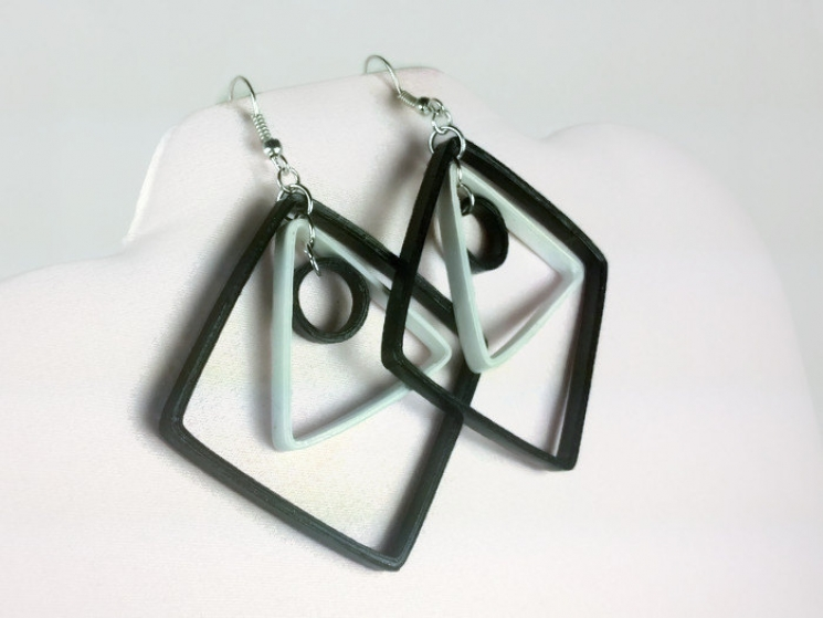 white and black earrings, large diamond shaped earrings, paper quilling earrings