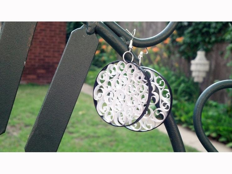 white and black earrings, beautiful earrings, large earrings, big earrings