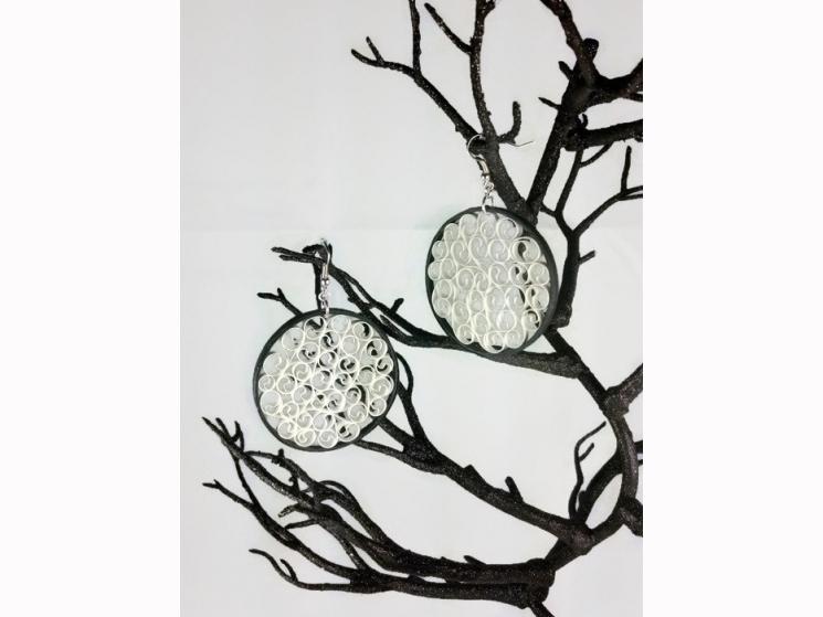 oversized earrings, paper earrings, paper filigree, handmade earrings