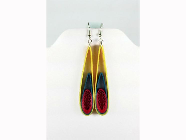 flames earrings, art deco earrings, long tapered earrings, tapered drop earrings