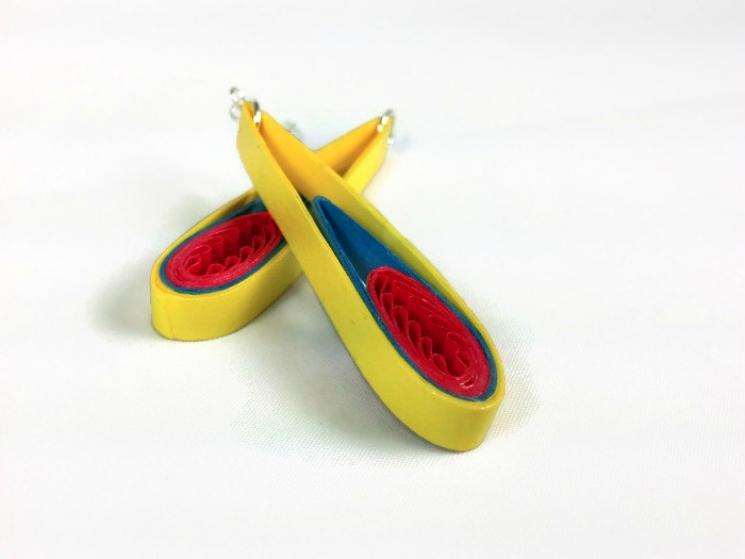 yellow teardrop earrings, first anniversary gift, fire earrings, yellow fire