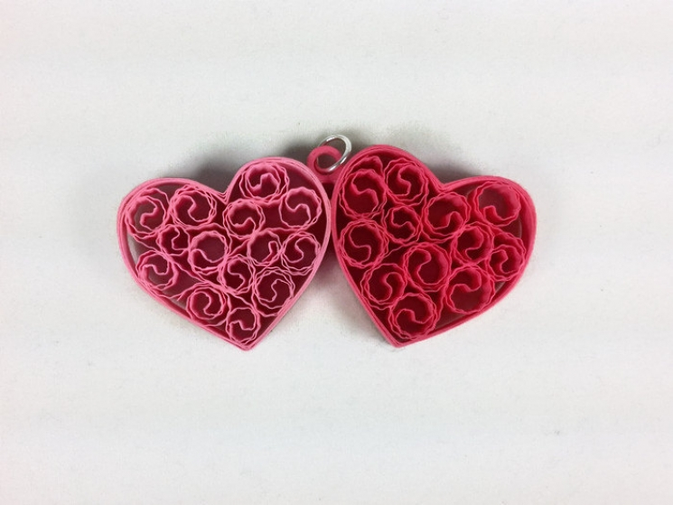 two hearts jewelry set, paper quilling heart, heart earrings, heart necklace