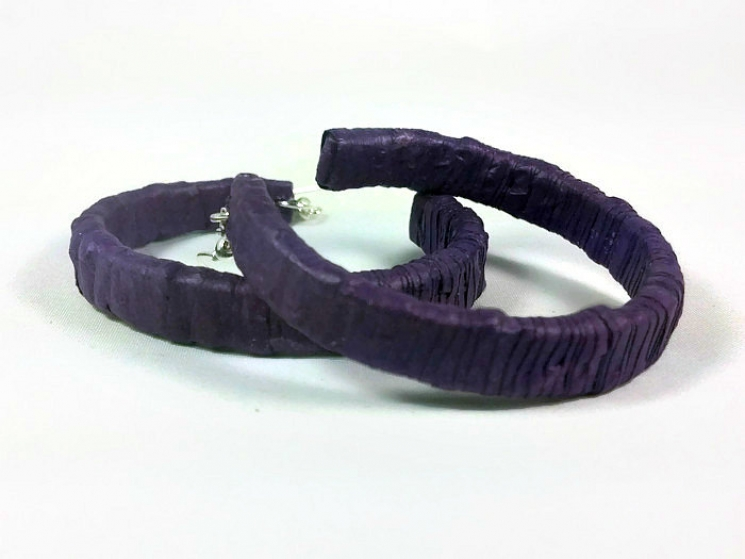 big hoops, half hoop earrings, open hoop earrings, purple open hoops, eco chic