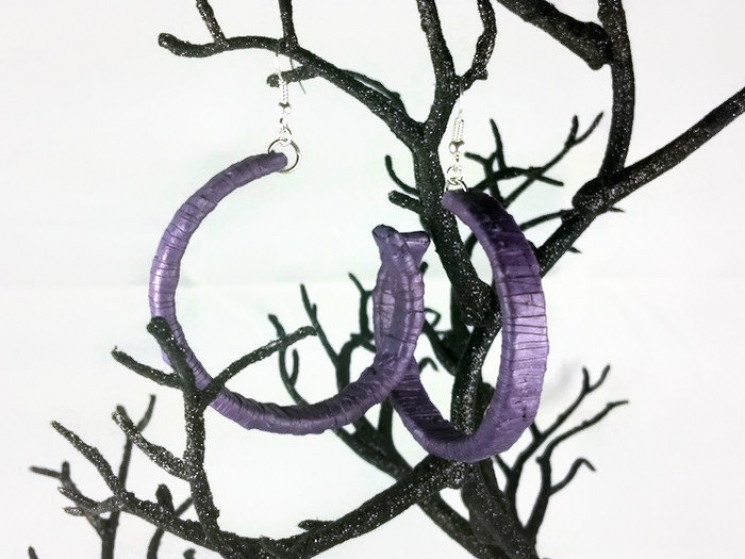 paper quill purple earrings, purple earrings, purple hoops, large hoop earrings
