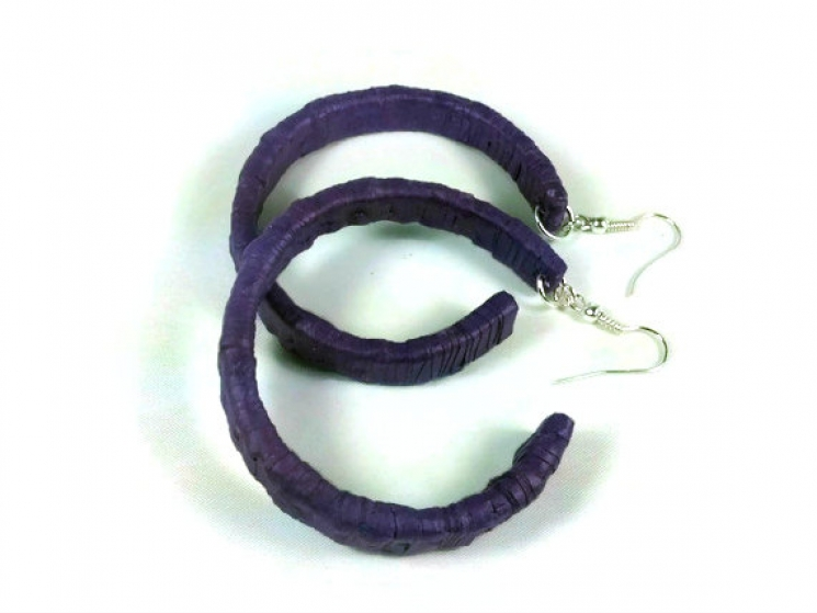 rustic earrings, rustic hoop earrings, purple hoop earrings, paper quill earring