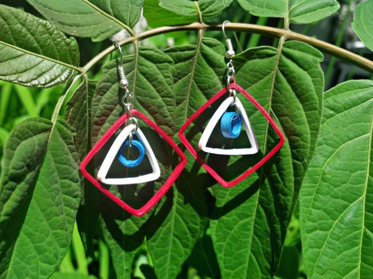 paper quilled earrings, American earrings, geometric earrings, art deco earrings
