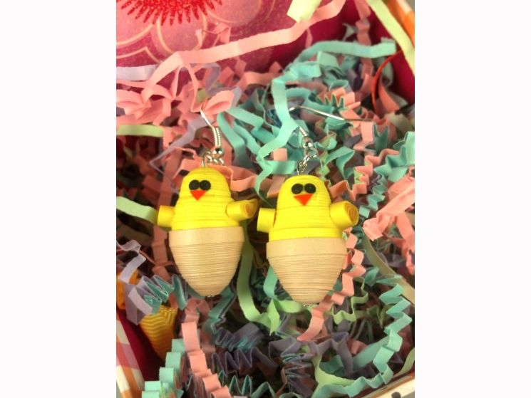 baby chicken earrings, earrings for Easter, chick earrings, chicken and egg