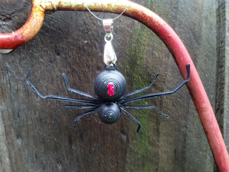 black widow necklace, paper spider, realistic spider, handmade spider jewelry