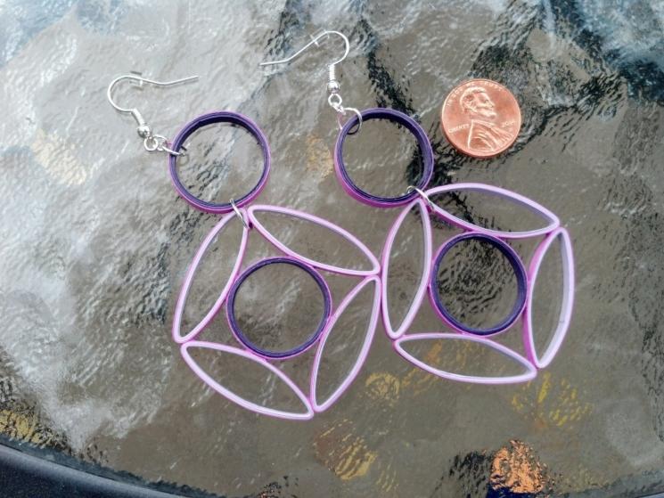 unique earrings, unique jewelry, shades of purple, purple jewelry, eco friendly
