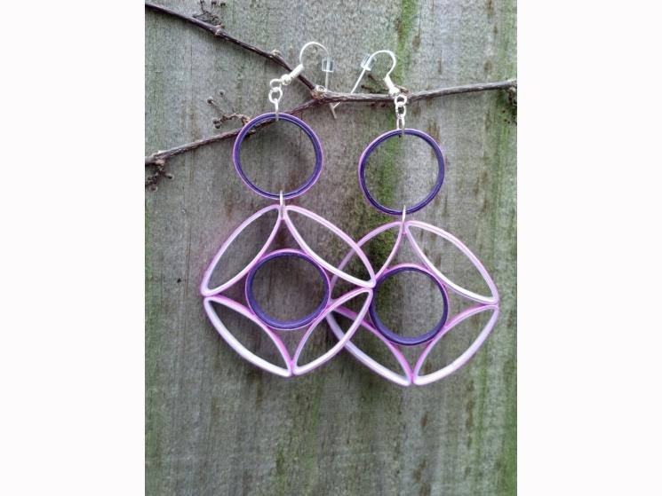 geometric purple earrings, purple statement earrings, paper quilling earrings