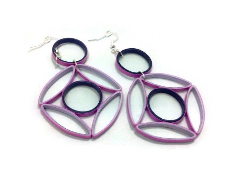 paper earrings, long earrings, big earrings, oversize earrings, art deco earring