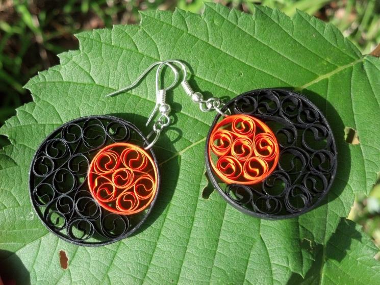 orange and black earrings, round earrings, black boho earrings, orange earrings