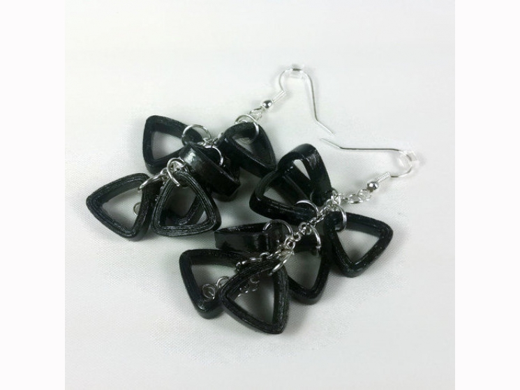 quill earrings, black quilling, black paper earrings, unique jewelry, eco chic