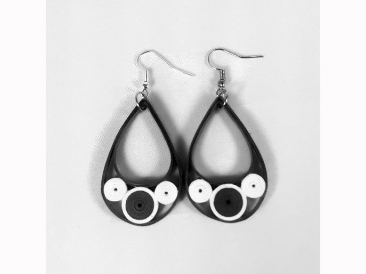 black and white earrings, deco earrings, paper quilling earrings, paper earrings