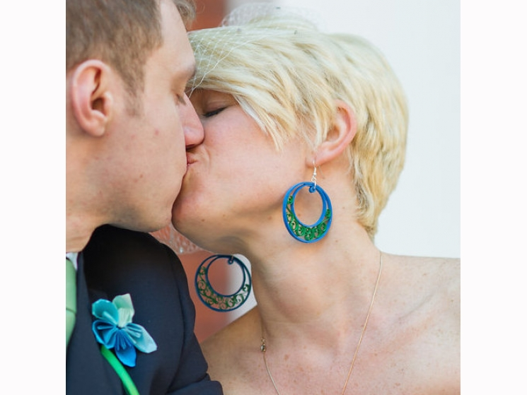 bridal earrings, large filigree half moon, custom colors, bridesmaid earrings