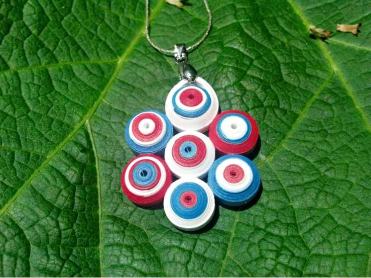 red white and blue necklace, 4th of July necklace, American flag necklace
