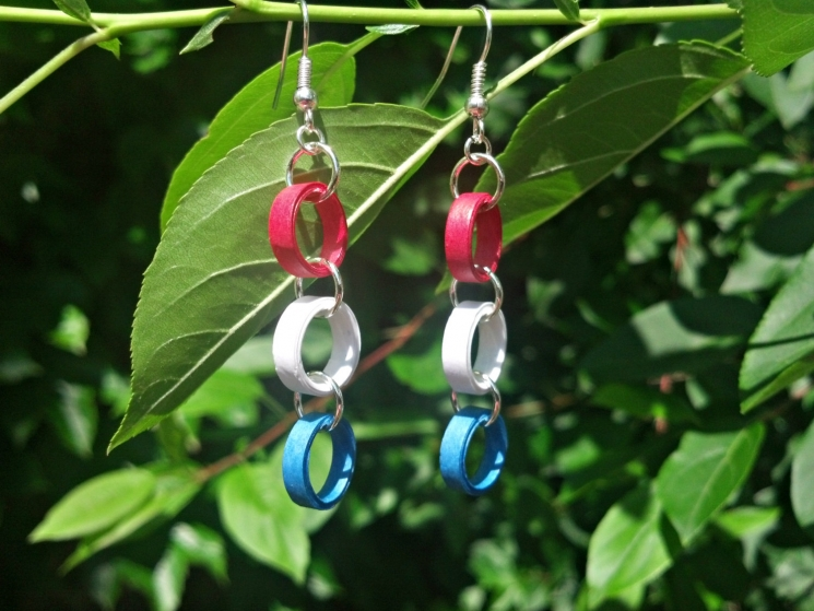red white and blue earrings, Independence day earrings, 4th of July earrings