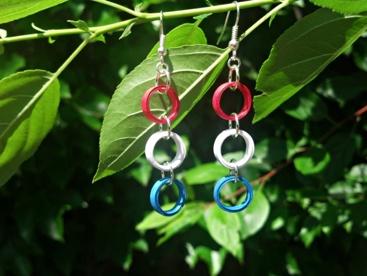 patriotic jewelry, American flag earrings, paper quilled earrings, made in usa
