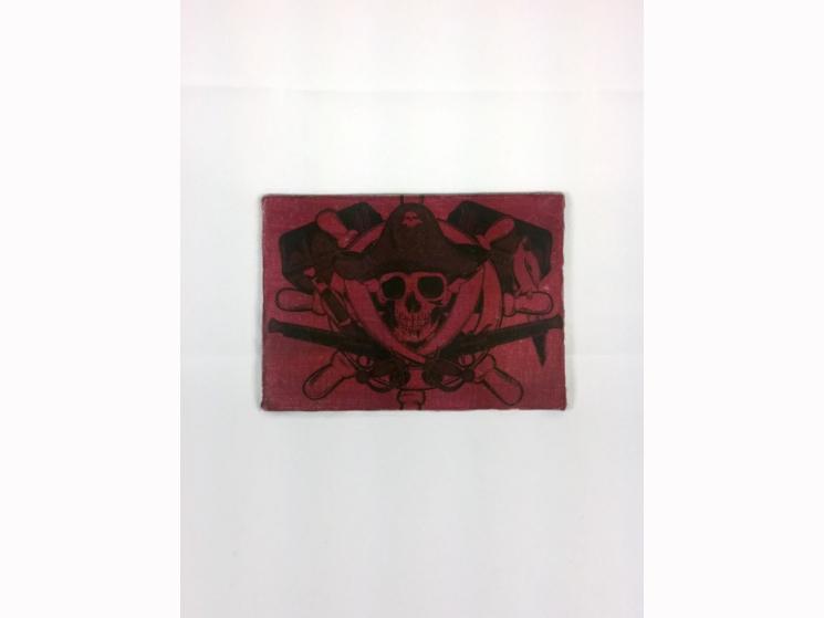 pirate wall art, pirate skull decor, Halloween sign, pirate birthday, blood red