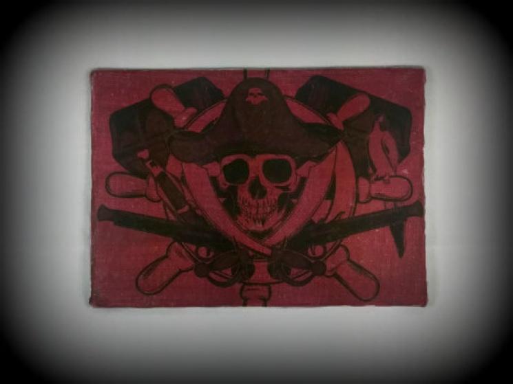 skull art, pirate sign, skull sign, Halloween wall art, Halloween print