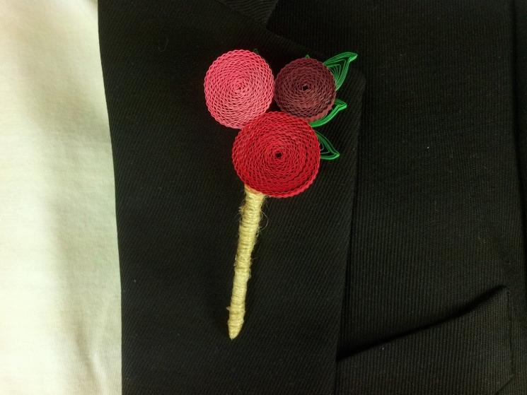 funky groom boutonniere, paper flower boutonniere, unique boutonniere