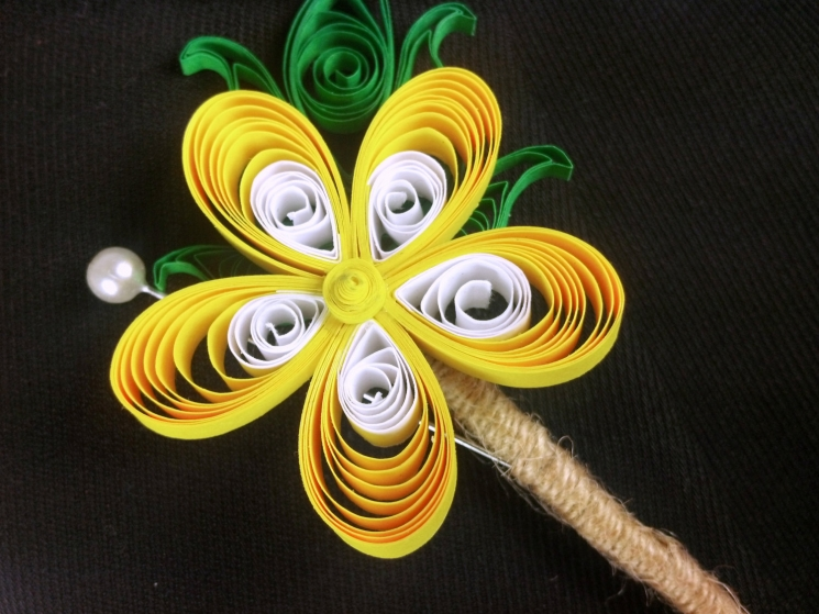 paper buttercup, yellow paper flower, paper quill boutonniere, yellow plumeria