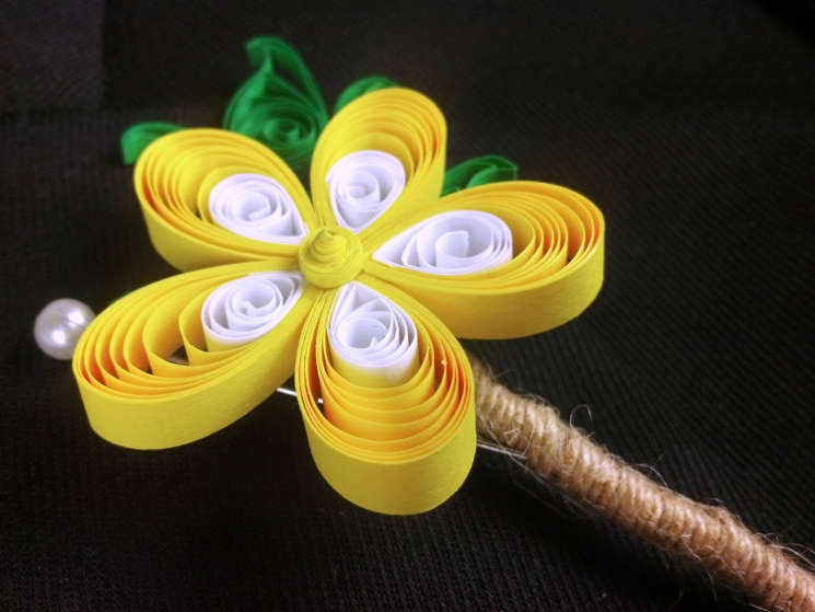 mens wedding boutonniere, yellow flower, paper quill flower, paper buttonhole