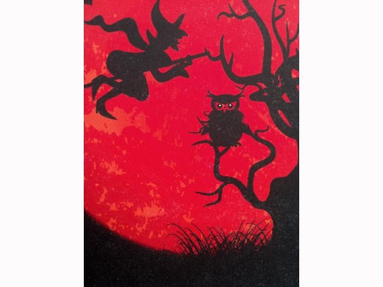 spooky art, spooky decor, Halloween moon, handmade art, handmade Halloween