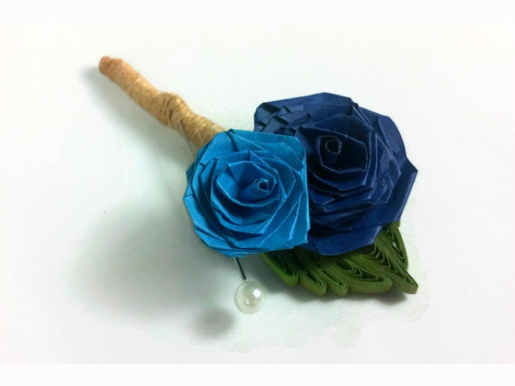 rose buttonhole, double roses boutonniere, wedding boutonniere, eco chic