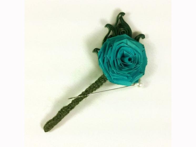 mens wedding flower, turquoise boutonniere, paper wedding flowers, single flower